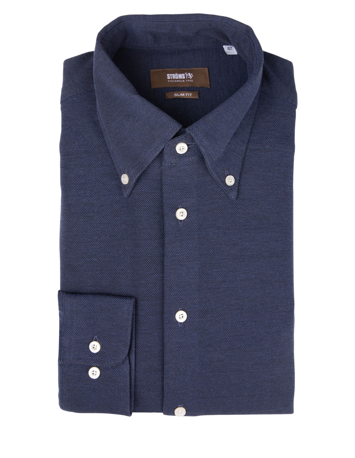Slim Fit Button Down Jersey Shirt Navy