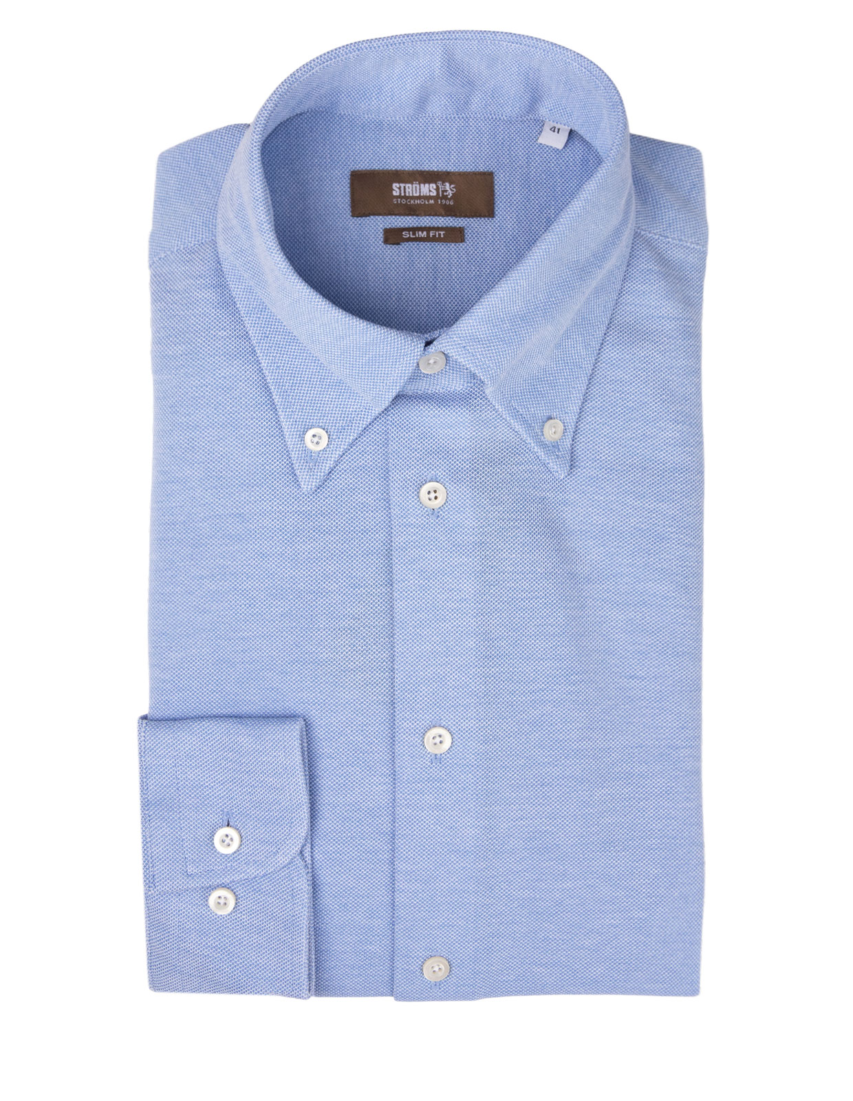 Slim Fit Button Down Jersey Shirt Light Blue