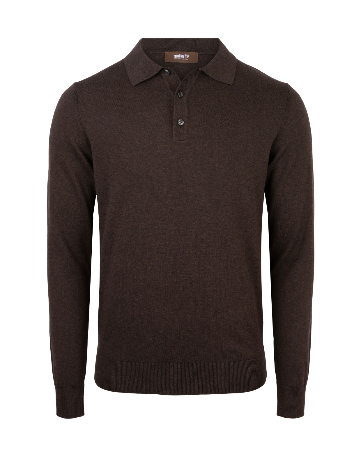 Polo Shirt Long Sleeve Cotton Chocolate
