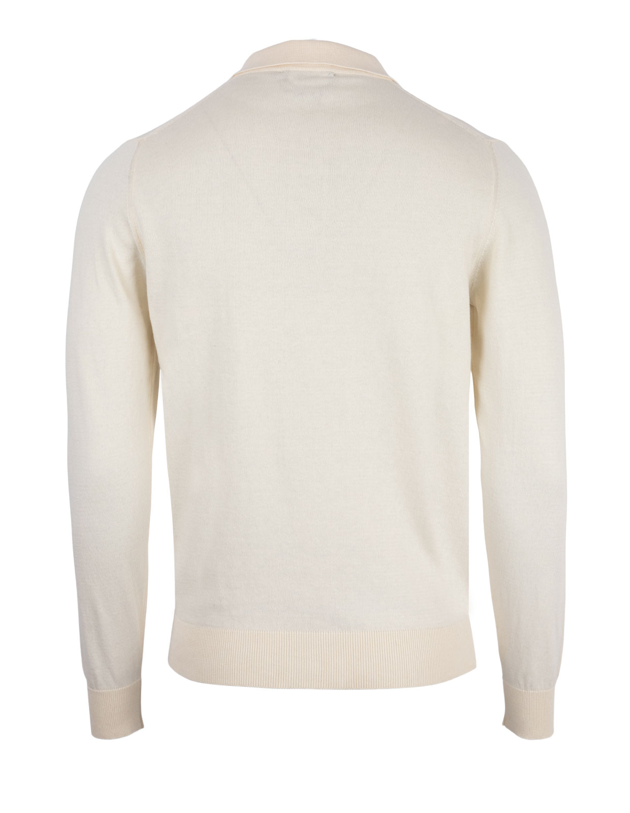 Polo Shirt Long Sleeve Cotton Panna