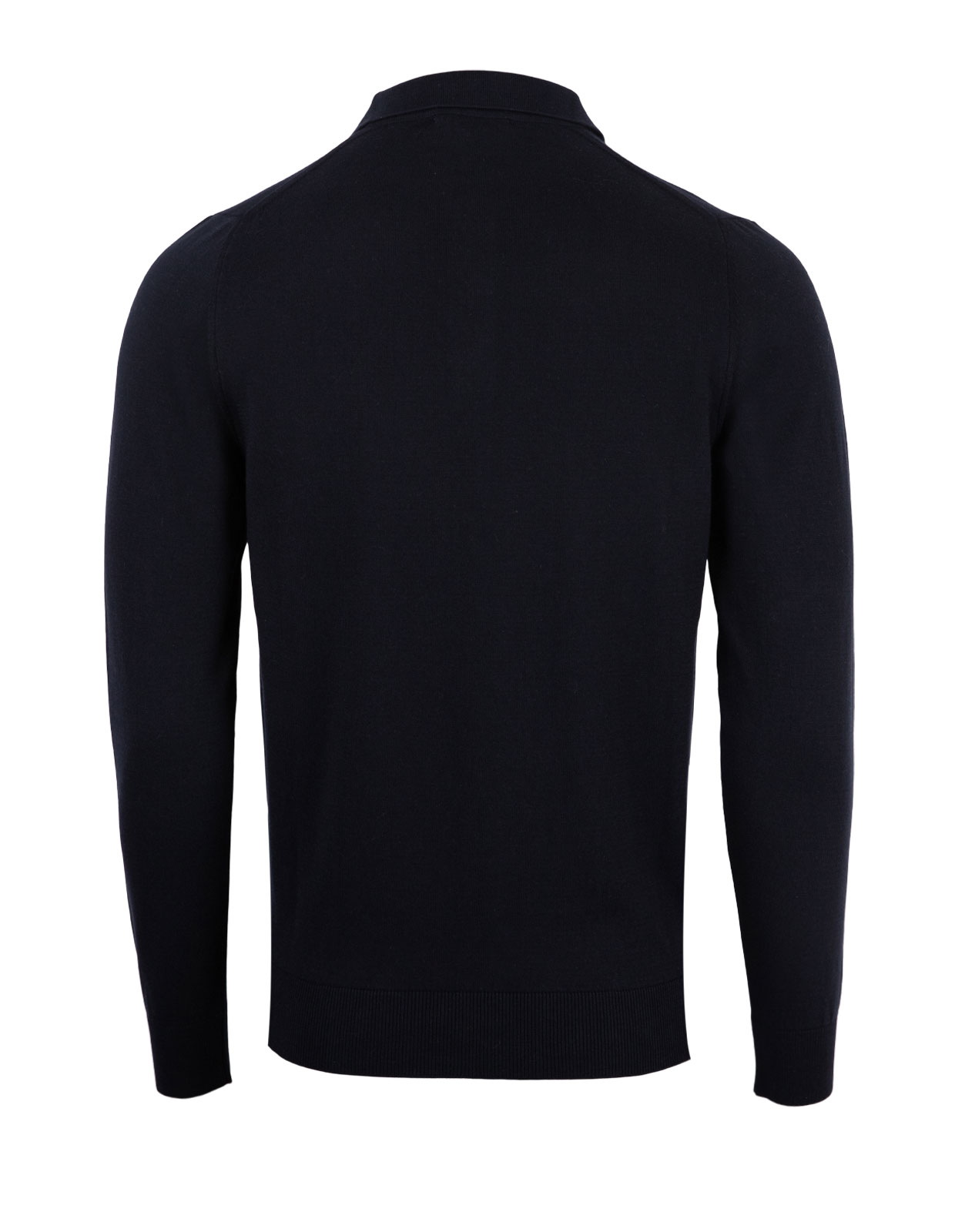 Polo Shirt Long Sleeve Cotton Blue Navy