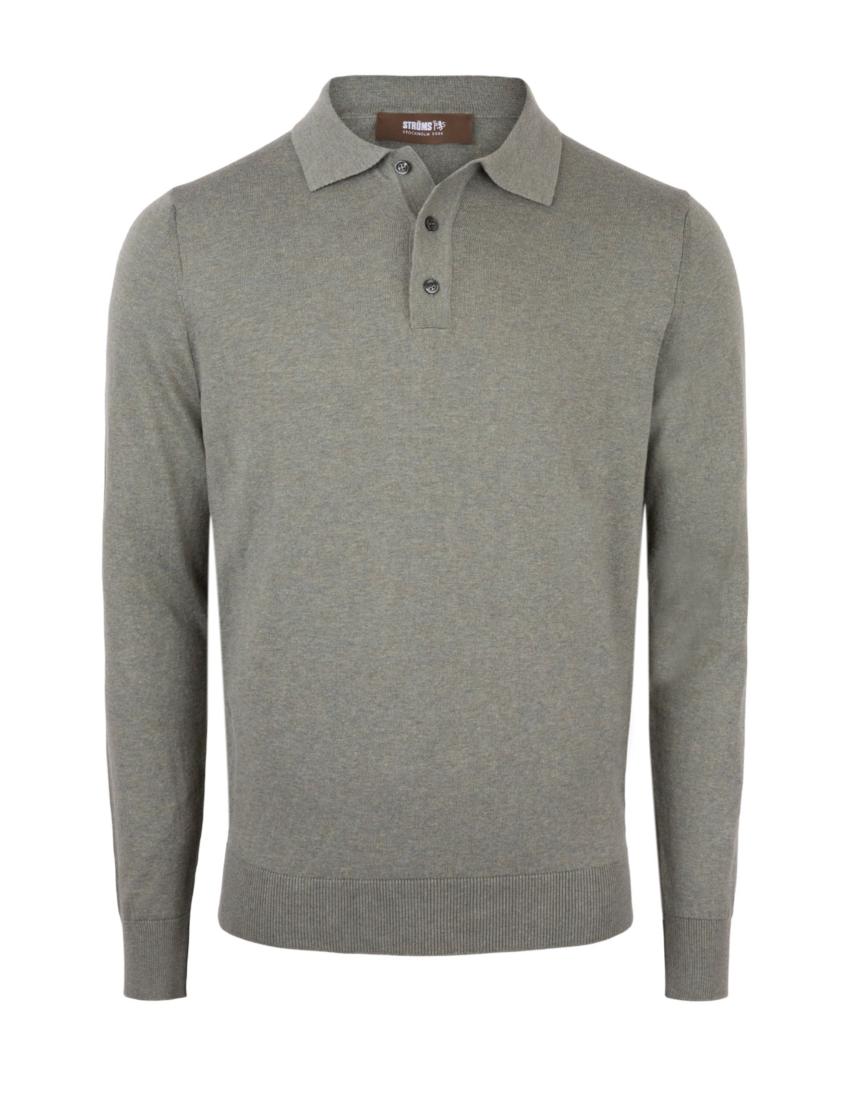 Polo Shirt Long Sleeve Cotton Verde Bosco