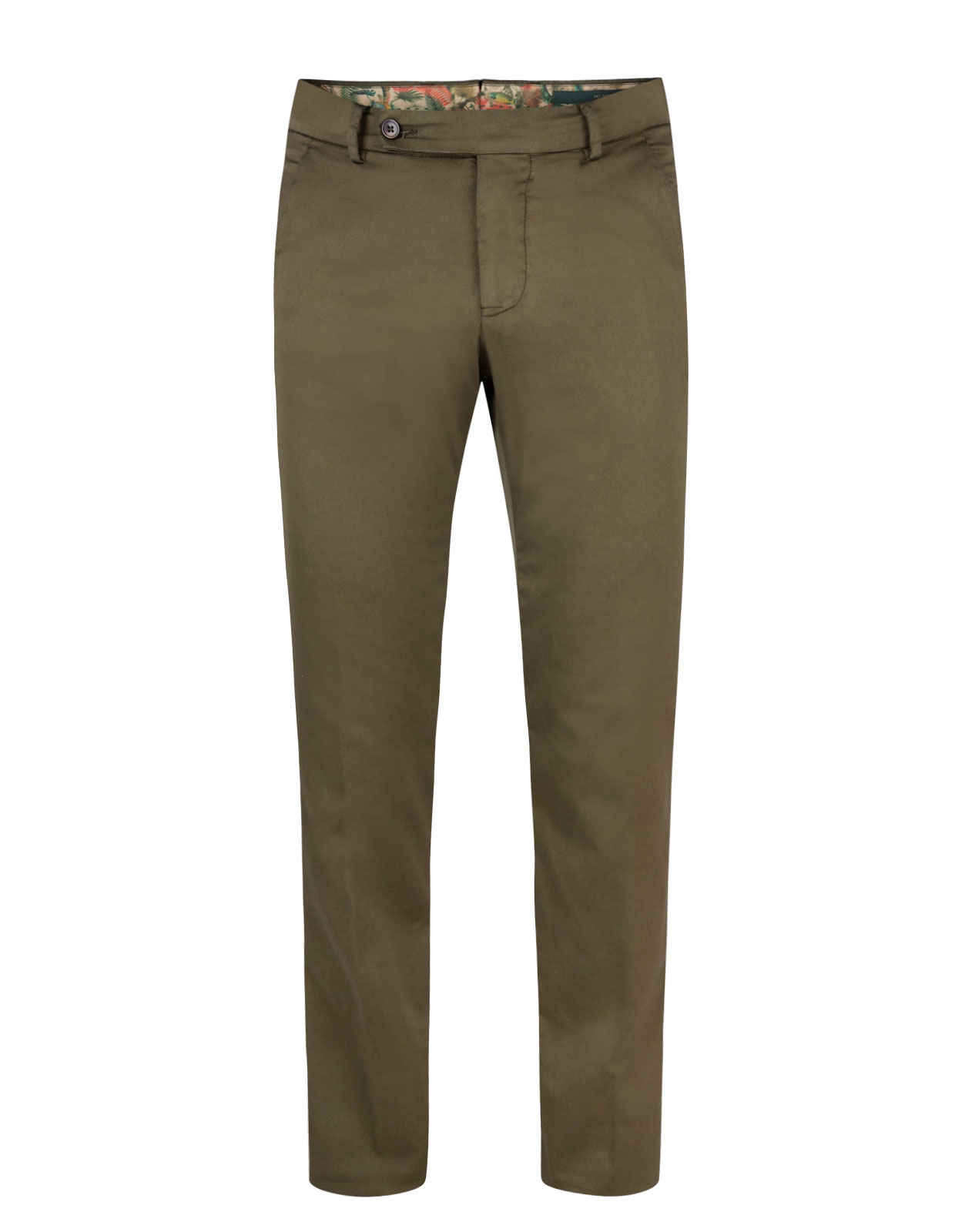 Comfort Slim Chinos Cotton Silk Stretch Militare