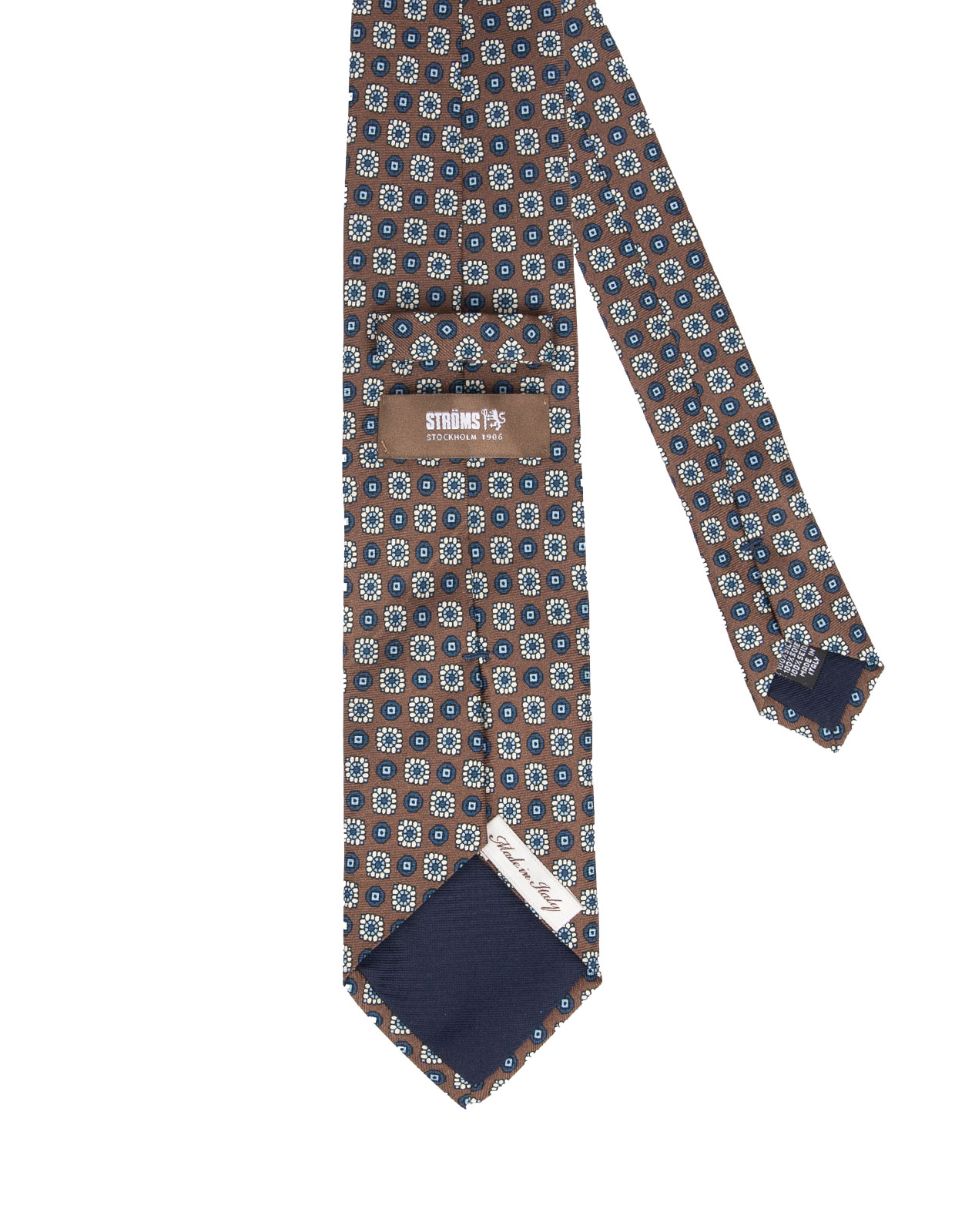 Printed Silk Twill Tie Brown