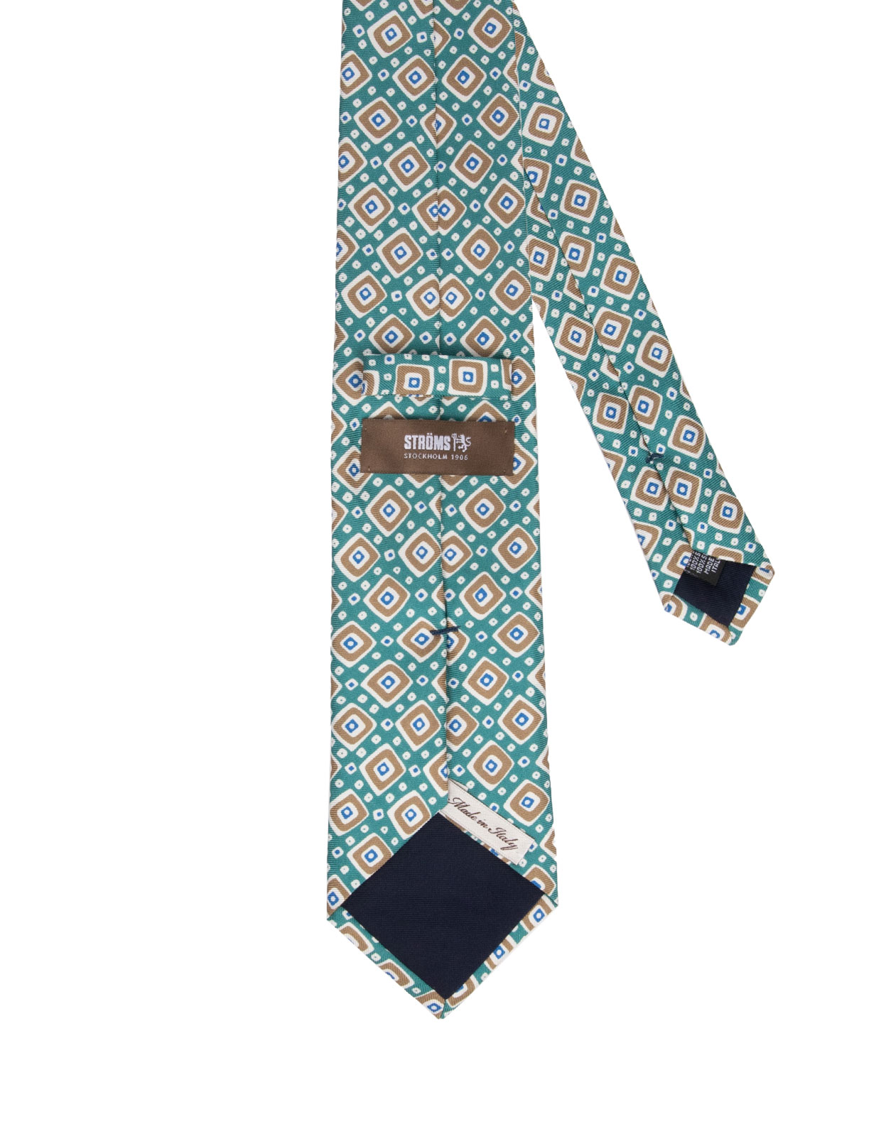 Printed Silk Tie Green/Brown