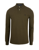 Custom Slim Fit Long Sleeve Polo Company Olive