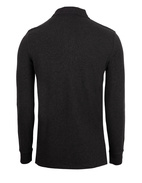 Custom Slim Fit Long Sleeve Polo Black Marl Heath