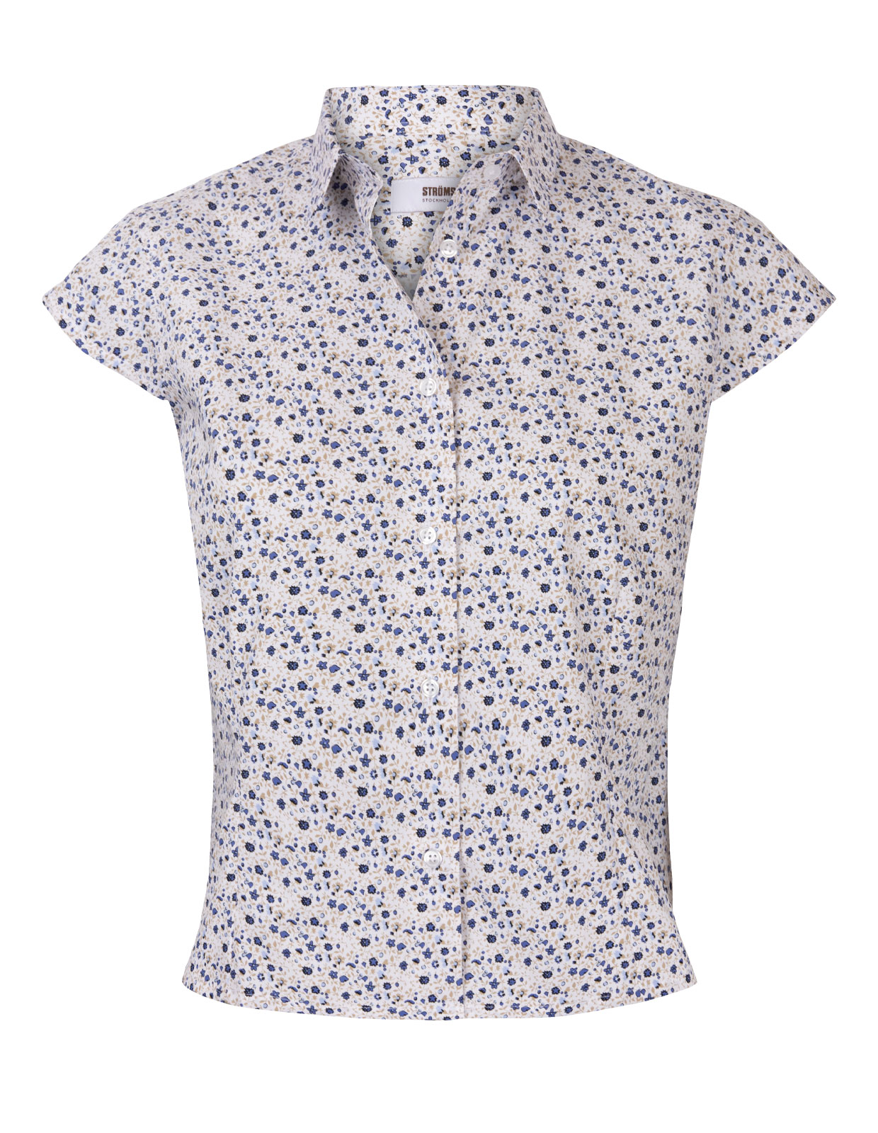 Cotton Shirt Cap Sleeve Flower Print