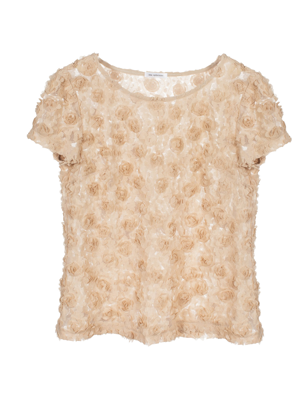 Julie 3D Floral Top Beige