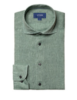 Slim Fit Soft Linen Shirt Green