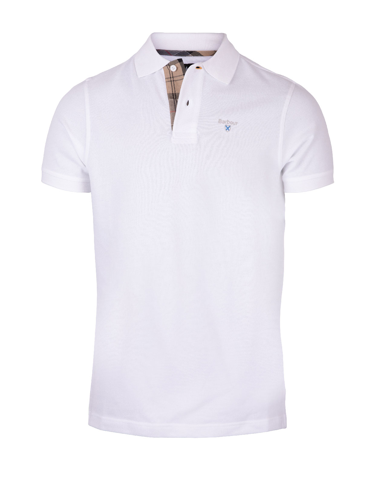 Barbour Tartan Pique Polo Shirt WH White/Dress