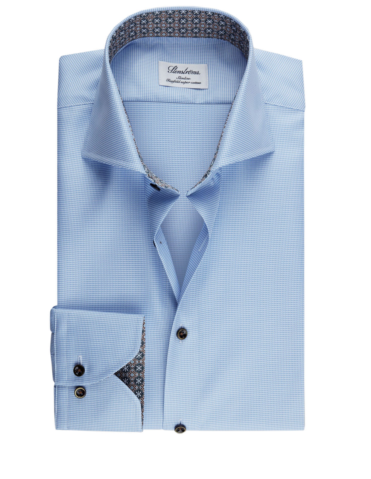 Slimline Shirt Extra Long Sleeve Contrast L.Blue Dogtooth